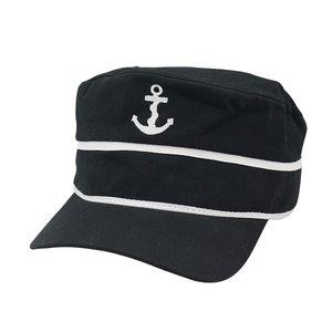 Zwarte Baseball cap met geborduurd anker