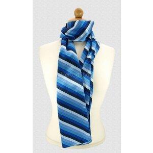 Sjaal met streepdessin in blauwe tinten