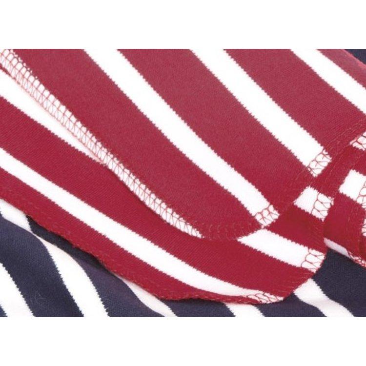 Modas Bretonse streep sjaal, éénlaags in wit met royalblue streep