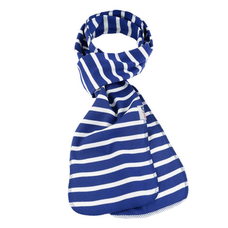 Modas Bretonse streep sjaal, éénlaags in royalblue met witte streep