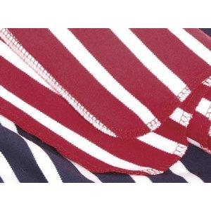 Modas Bretonse streep sjaal, éénlaags in marineblauw met ecru streep