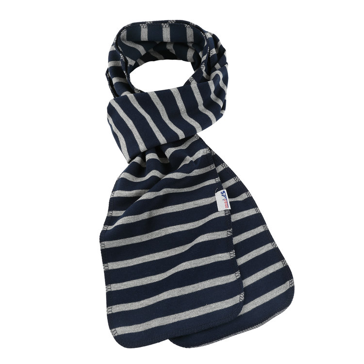 Modas Bretonse streep sjaal, éénlaags in marineblauw met grijs melange streep