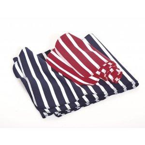 Modas Bretonse streep sjaal, éénlaags in wit met grijs melange streep