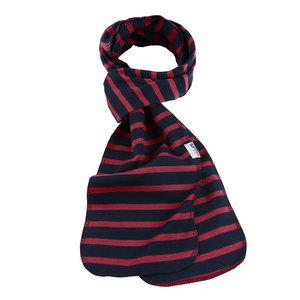 Modas Bretonse streep sjaal, éénlaags in marineblauw met rode streep