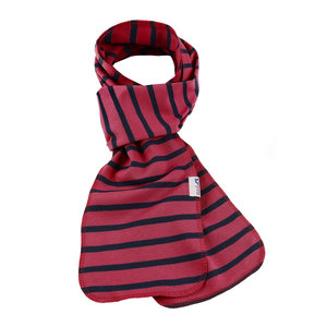 Modas Bretonse streep sjaal, éénlaags in rood met marineblauwe streep