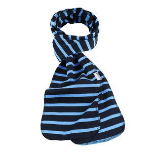 Modas Bretonse streep sjaal, éénlaags in marineblauw met lichtblauwe streep