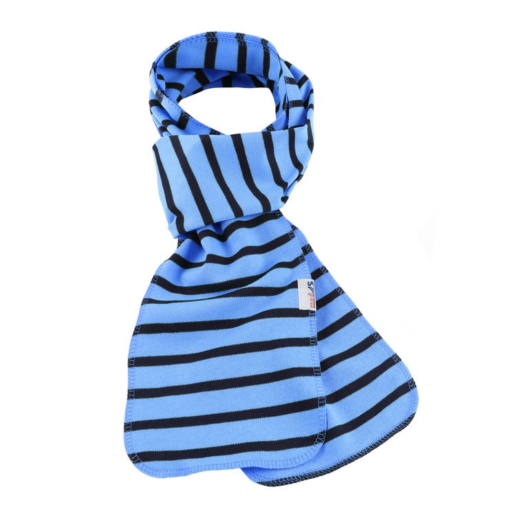 Modas Bretonse streep sjaal, éénlaags in lichtblauw met marineblauwe streep