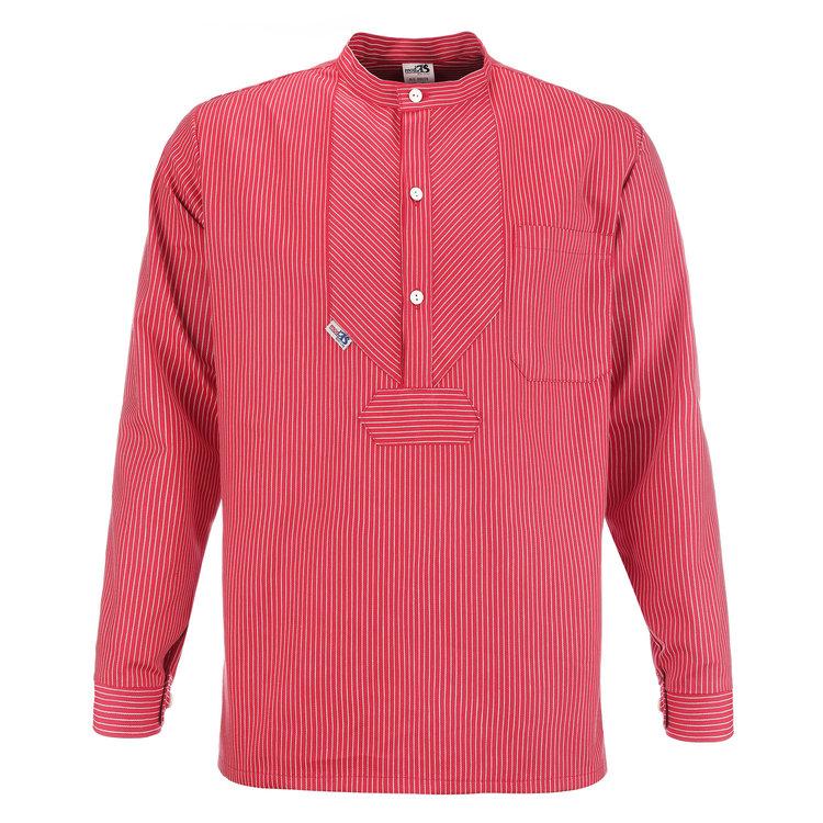 Modas Vissershemd 'BasicLine' in rood met witte strepen
