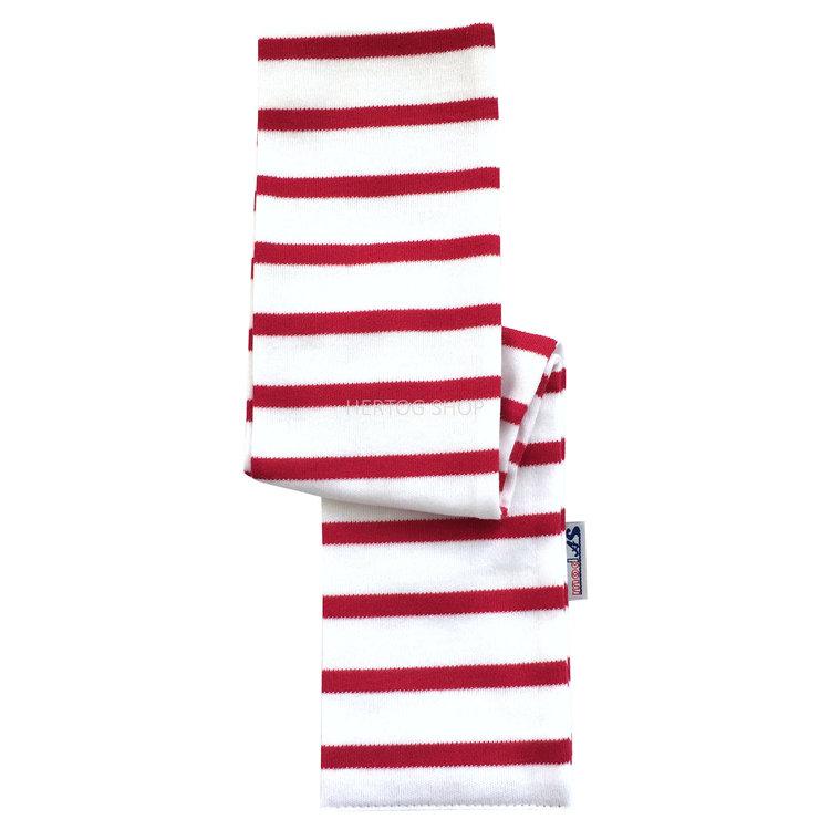 Modas Babysjaal met Bretonse strepen - wit /rood