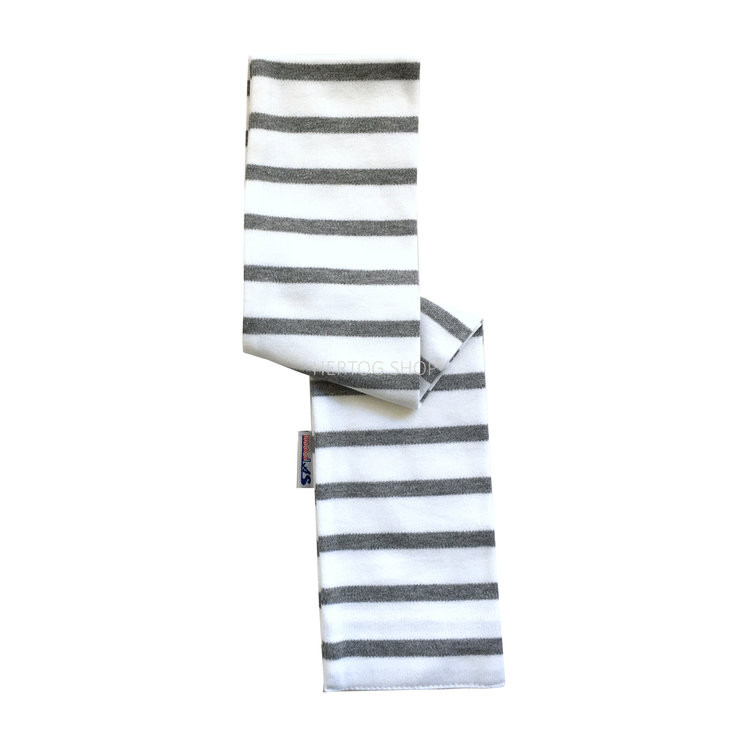 Modas Babysjaal met Bretonse strepen - wit/grijs