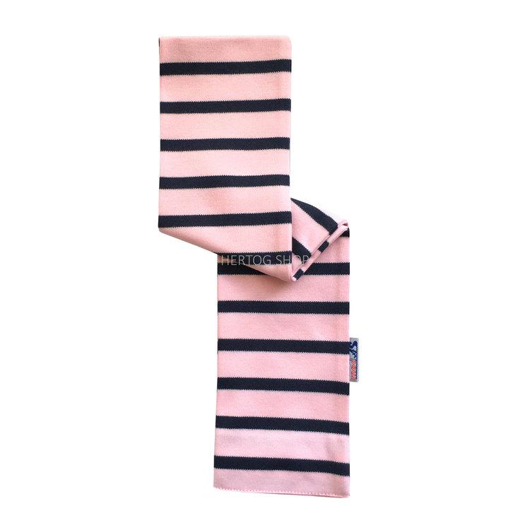 Modas Babysjaal met Bretonse strepen - roze/marineblauw