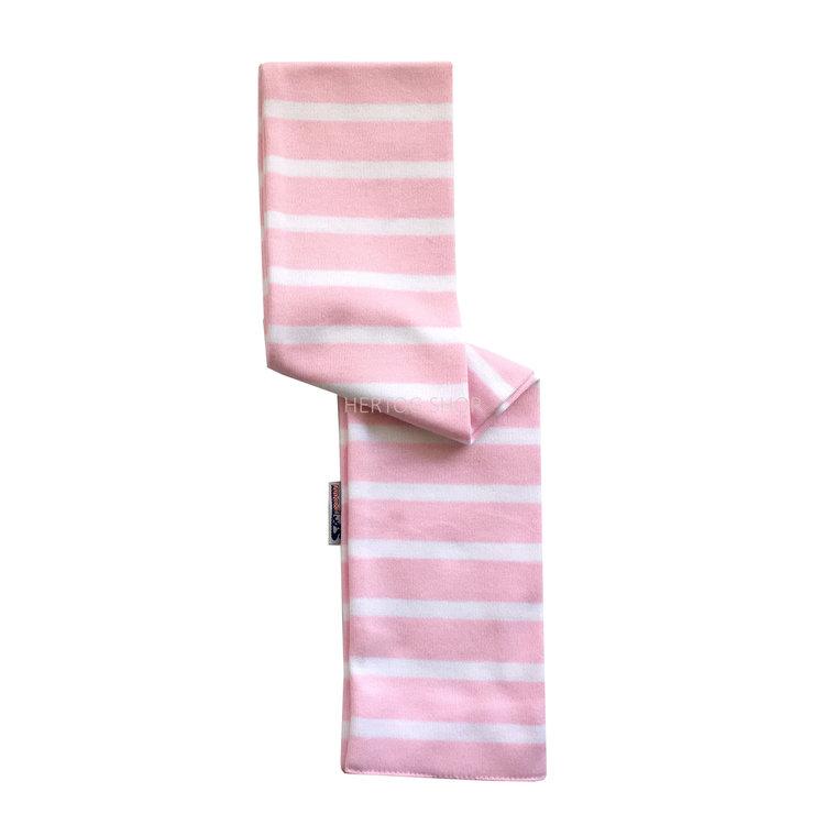 Modas Babysjaal met Bretonse strepen - roze/wit
