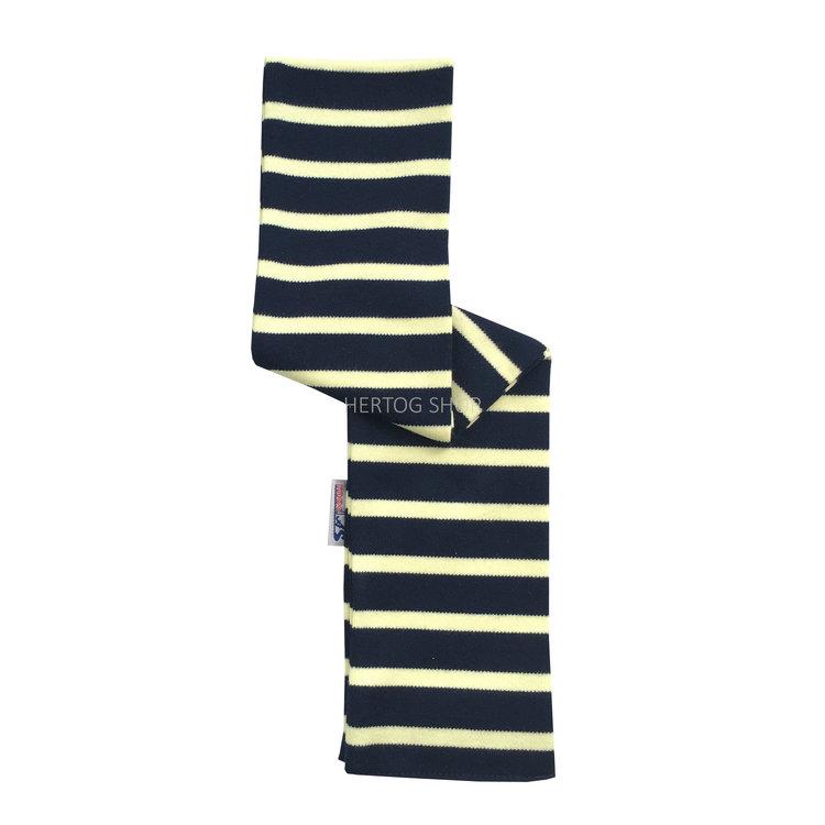 Modas Babysjaal met Bretonse strepen - marineblauw/citrusgeel