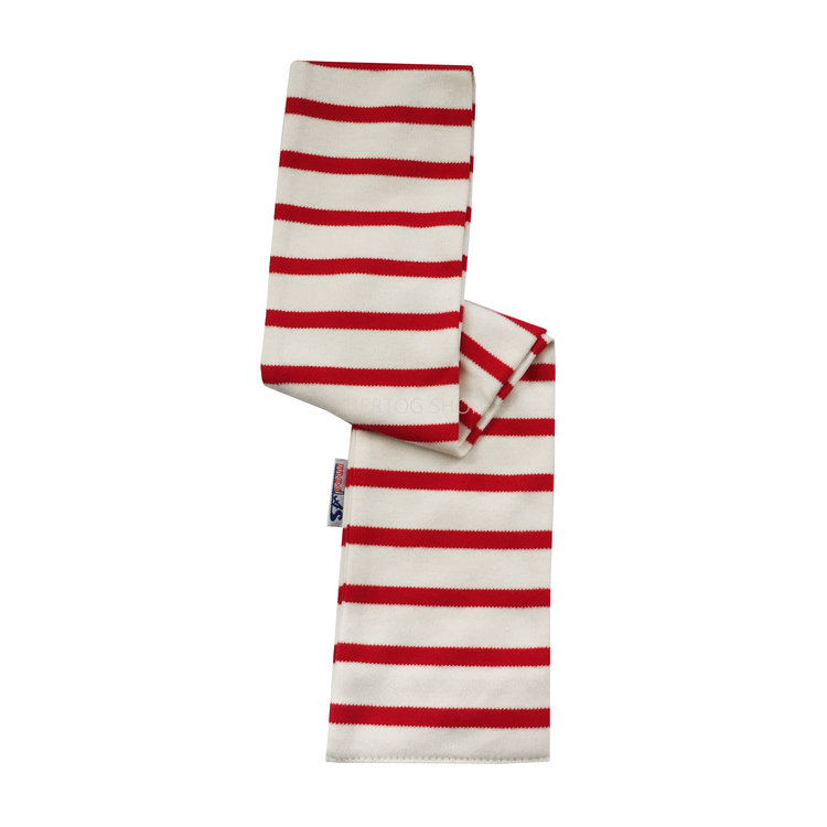 Modas Babysjaal met Bretonse strepen - ecru/rood