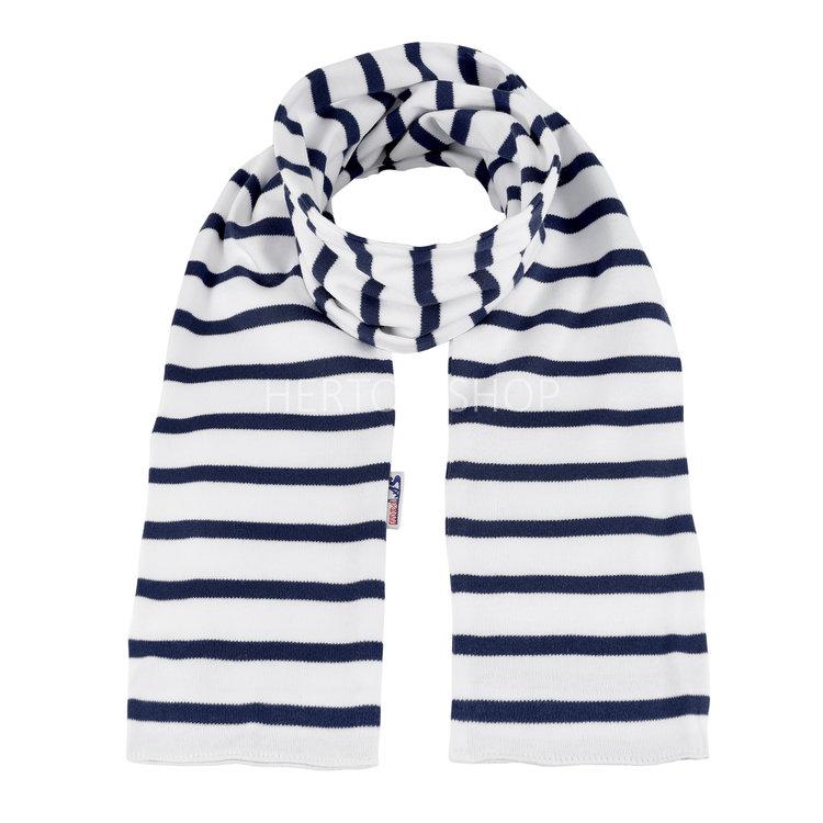 Modas Kindersjaal met Bretonse strepen - wit/marineblauw