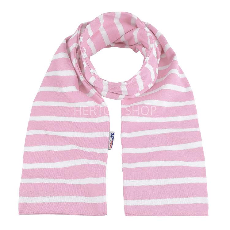 Modas Kindersjaal met Bretonse strepen - roze/wit