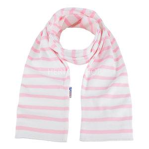 Modas Kindersjaal met Bretonse strepen - wit/roze