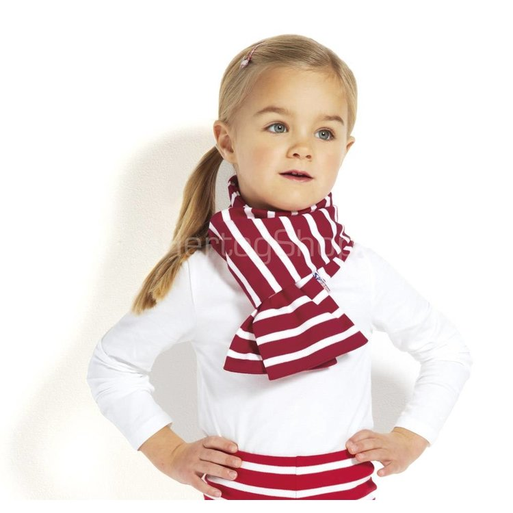Modas Kindersjaal met Bretonse strepen - ecru/rood
