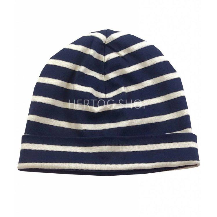 Modas Kindermuts met Bretonse strepen - marineblauw/ecru