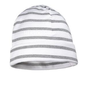 Modas Kindermuts met Bretonse strepen - wit/grijs
