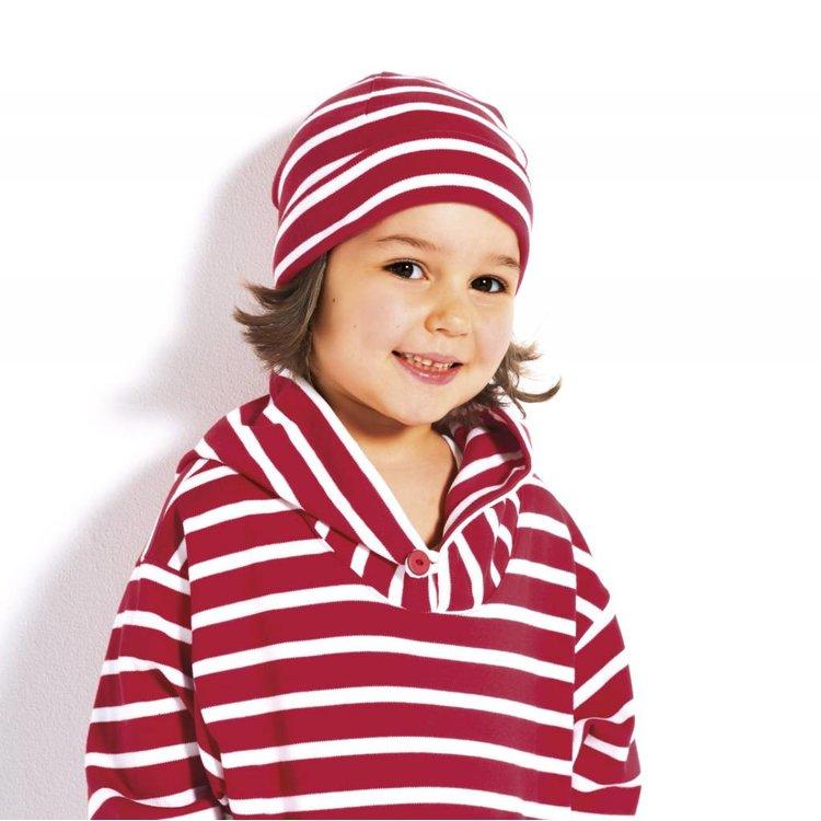 Modas Kindermuts met Bretonse strepen - fuchsia/wit