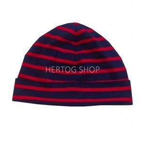 Modas Kindermuts met Bretonse strepen - marineblauw/rood