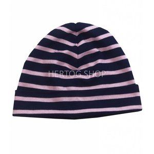 Modas Bretonse kindermuts Marineblauw - roze