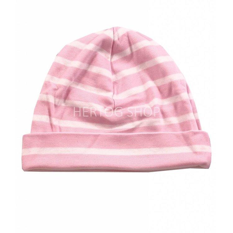 Modas Kindermuts met Bretonse strepen - roze/wit