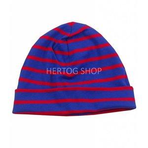 Modas Kindermuts met Bretonse strepen - royalblue/rood