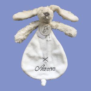 Happy Horse Rabbit Richie knuffeldoekje Grijs met geborduurde naam