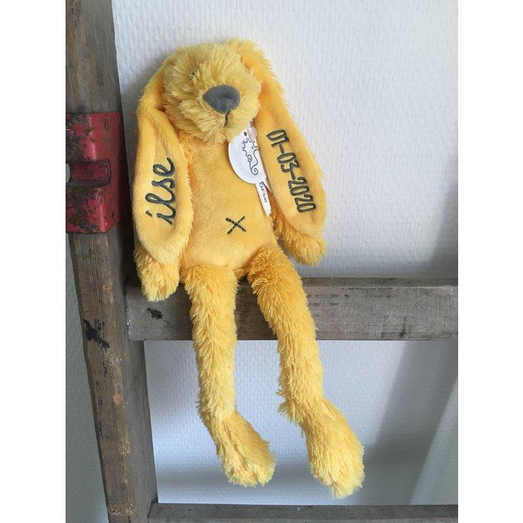 Happy Horse Rabbit Richie Tiny Geel met geborduurde naam