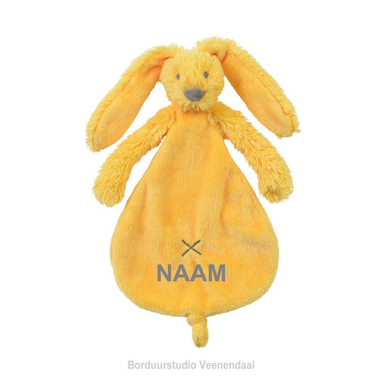 Happy Horse Rabbit Richie knuffeldoekje Geel met geborduurde naam