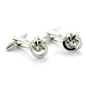 Manchetknopen zilverkleurige knoop