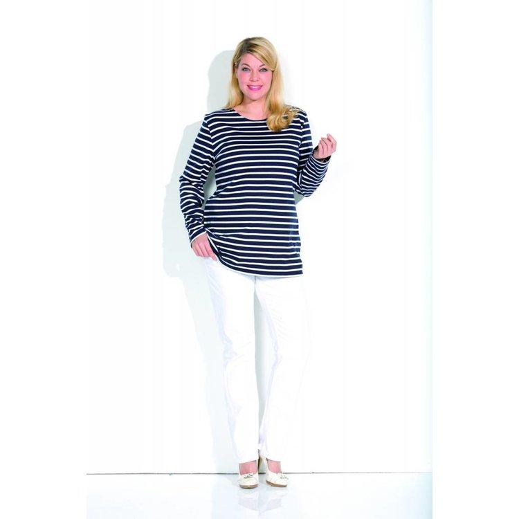 H-25908 Bretonse streepshirt voor dames lang model