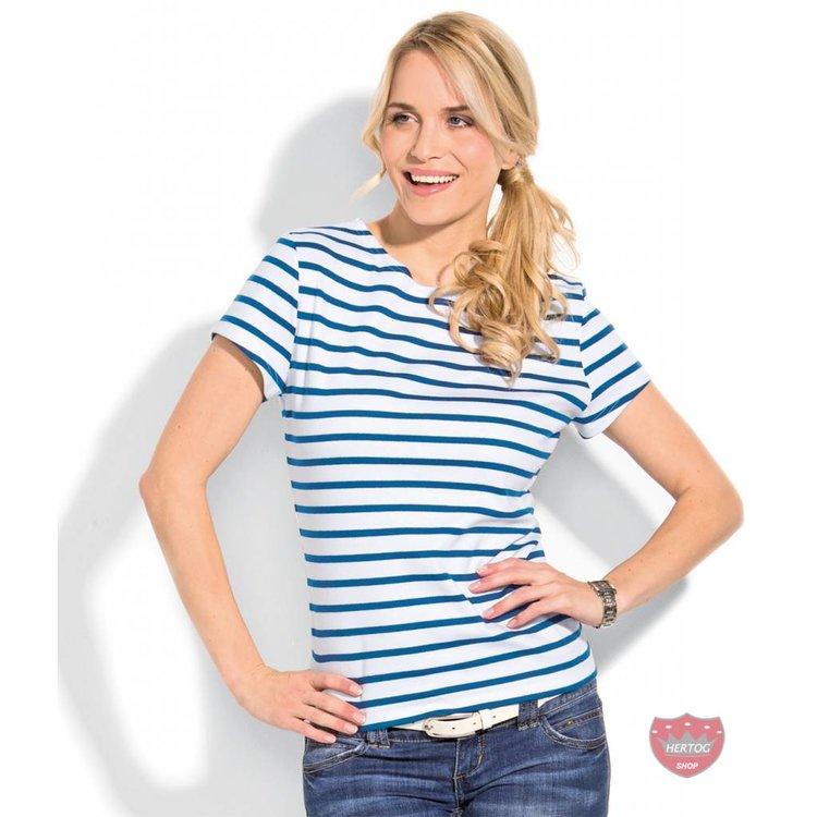 Modas Bretonse streepshirt korte mouwen in 13 kleurcombinaties
