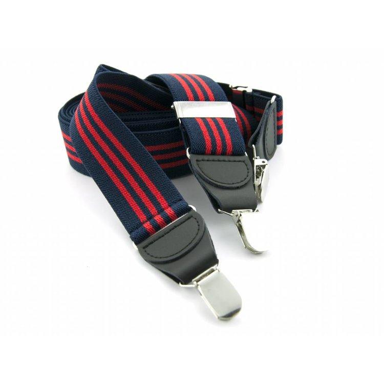 Bretels elastiek 35mm Donkerblauw - Rood gestreept
