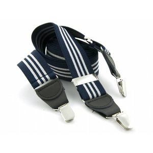 Bretels elastiek 35mm Donkerblauw - Wit gestreept