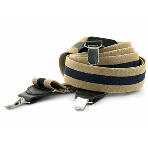 Bretels elastiek 35mm Beige - Donkerblauw gestreept