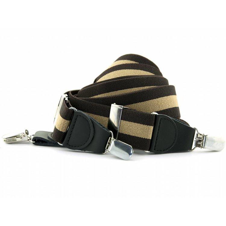 Bretels elastiek 35mm Bruin - Beige gestreept