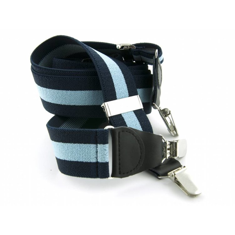 Bretels elastiek 35mm Donkerblauw-Lichtblauw gestreept