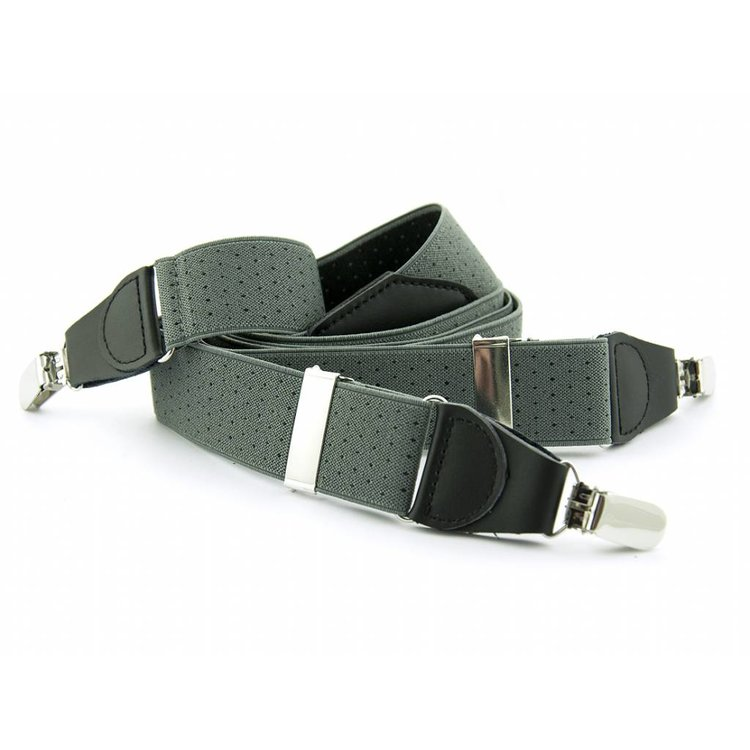 Bretels elastiek 35mm Grijs met Zwarte stippen
