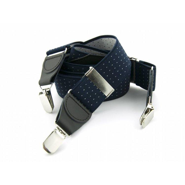 Bretels elastiek 35mm Donkerblauw met Witte stippen