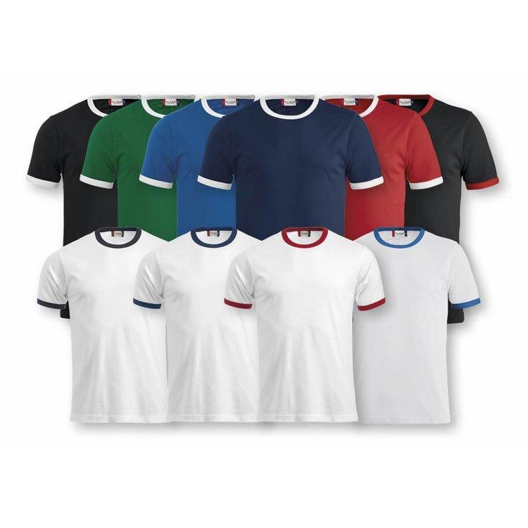T-shirt met donkerblauwe contrasten