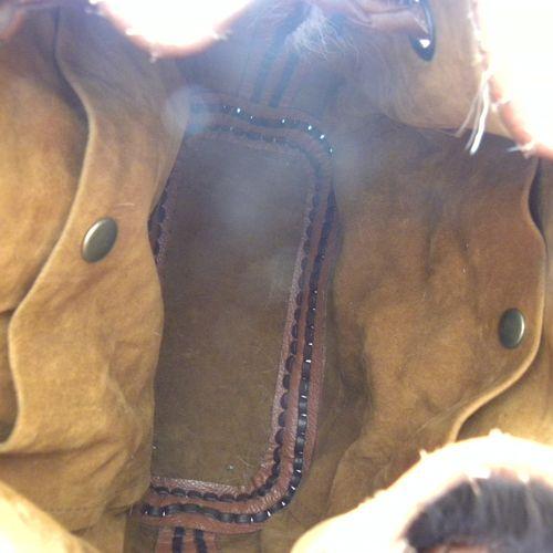 fabstyle Handgemaakte leren rijg tas met koeienhuid