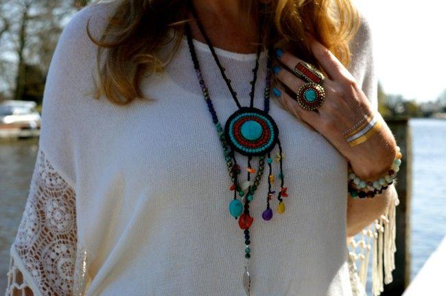 Handgemaakte Ibiza & Boho style kralen ketting