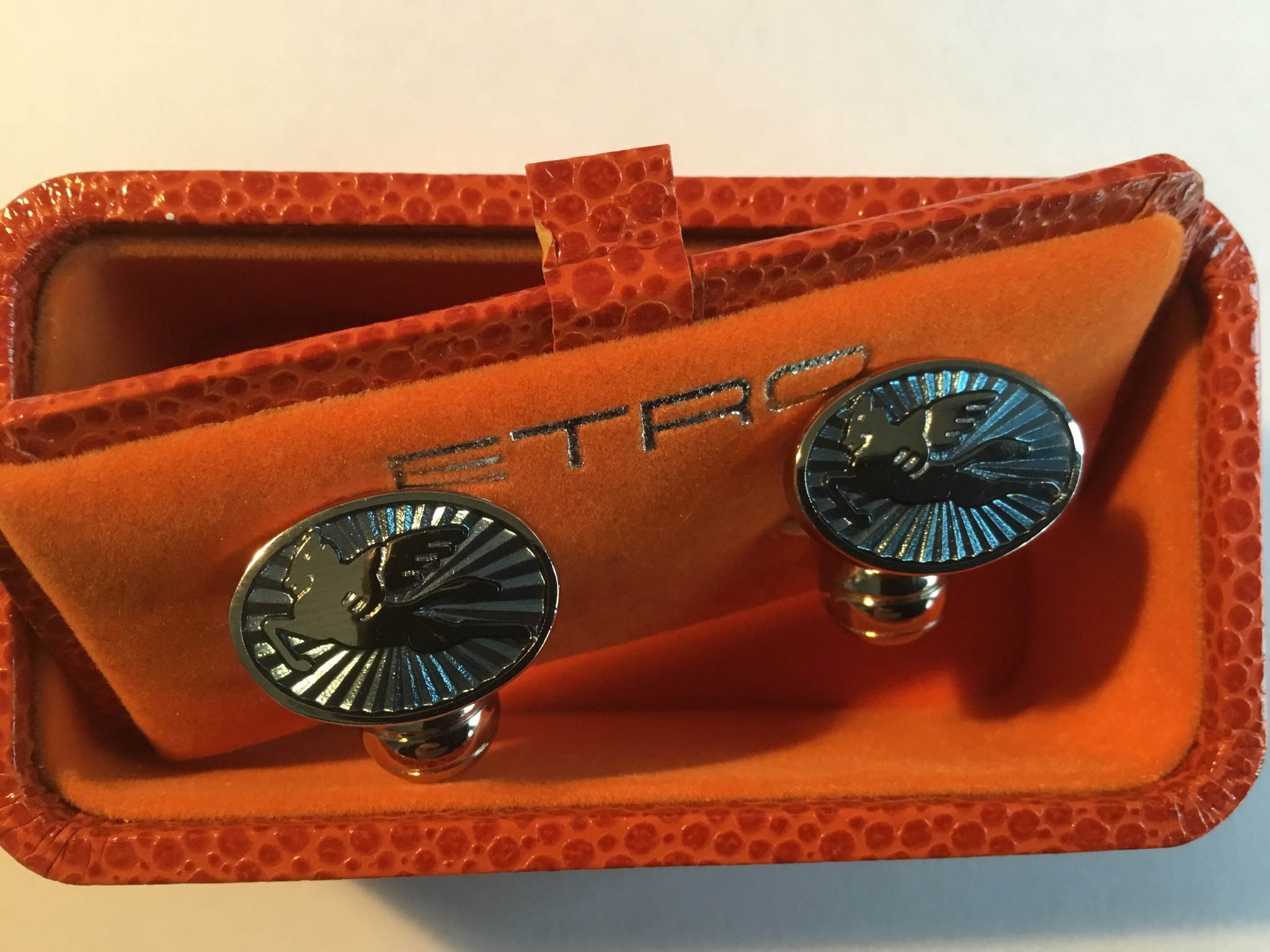 ETRO Cufflinks Light Blue Enamel Silver Winged Horses Ferrari