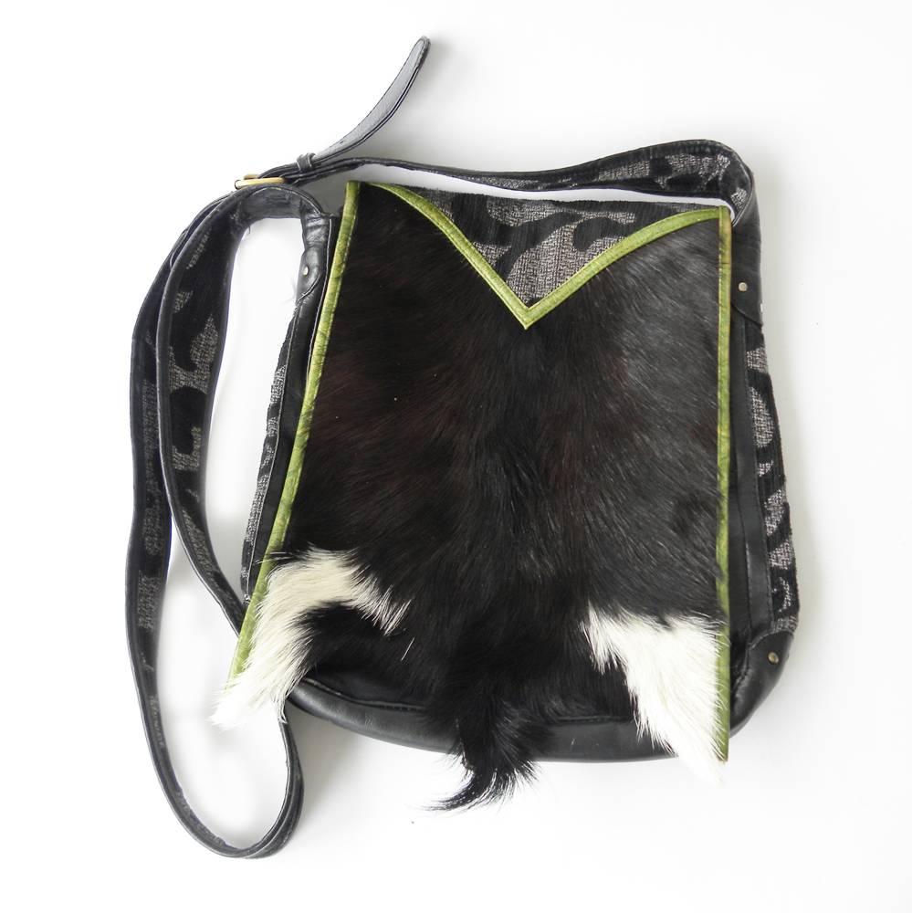 Chick on a Mission zwarte tas met leer en huid
