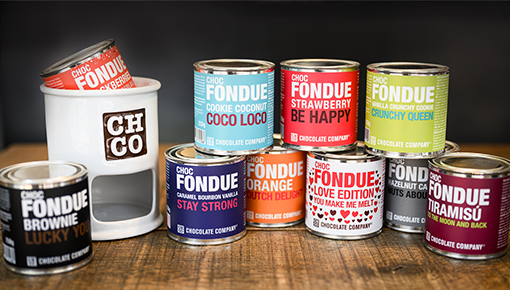 chocfondue - choice of 13 flavours fondue in a can