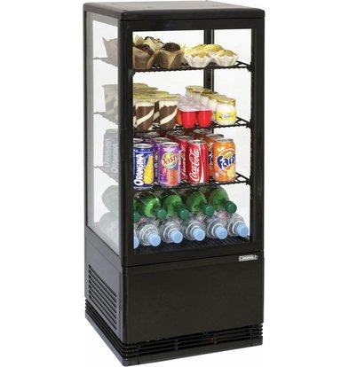 Casselin Mini Kühlvitrine 78l Schwarz mit Innenbeleuchtung