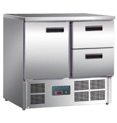 XXLselect Polar Arbeitstisch mit Kühlschrank, Edelstahl, 1 Tür und 2 Schubladen